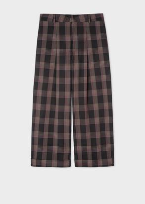 Paul Smith Women's Black Check Seersucker Cotton Cropped Trousers