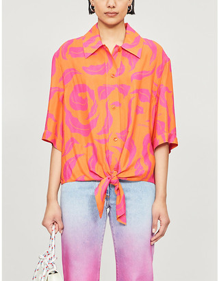 Off-White Tied-hem leaf-print woven shirt