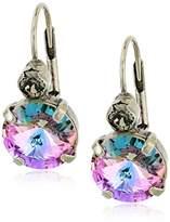 Sorrelli Purple Lotus Closed Circle Drop Earrings
