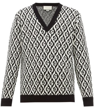 Gucci Rhombi-jacquard Pattern Wool Sweater - Black White