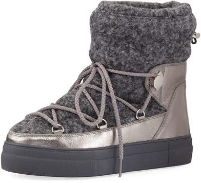 Moncler Ynnaf Wool & Leather Snow Boot