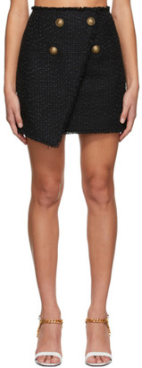 Balmain Black Tweed Wrap Asymmetric Miniskirt