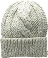 San Diego Hat Company Women's Cable Kit Beanie with Metallic Yarn and Cuff