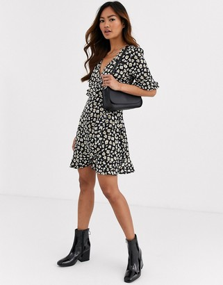 Brave Soul arizona satin effect wrap dress in abstract leopard print-Black