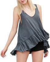 Sun Womens Sexy sleeveless Flared T shirt Loose Vest Blouse (L)