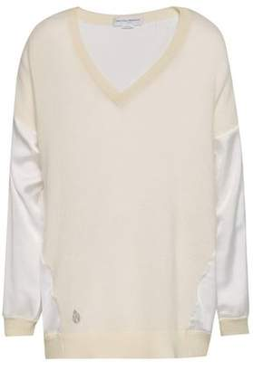 Amanda Wakeley Satin-paneled Cashmere And Wool-blend Sweater