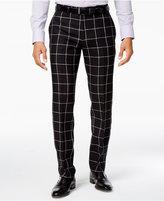 Tallia Men's Slim-Fit Black and White Windowpane Dress Pants