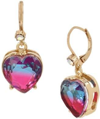 Betsey Johnson Goldtone Crystal Ombre Stone Heart Drop Earrings