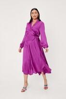 Thumbnail for your product : Nasty Gal Womens Plus Size Satin Wrap Midi Dress - Purple - 20