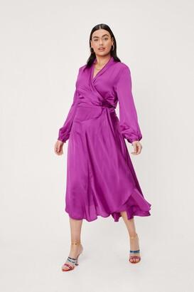 Nasty Gal Womens Plus Size Satin Wrap Midi Dress - Purple - 18