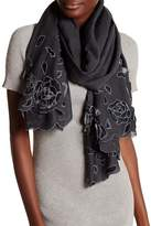 Saachi Gunmetal Velvet Rose Wool Wrap