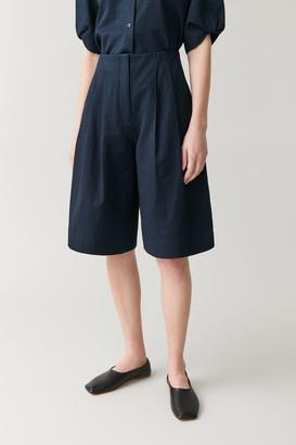Cos Multi-Pleat Cotton Shorts