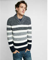 Express ombre marl rugby stripe shawl collar popover