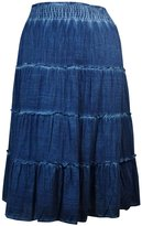 Style&Co. Style & Co. Womens Cotton Tie-Dye Maxi Skirt Blue XL