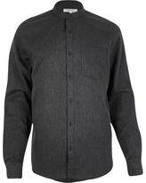 River Island MensGrey waffle grandad collar shirt