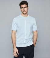 Reiss Vincente - Stripe Detailed Crew Neck Top in Soft Blue