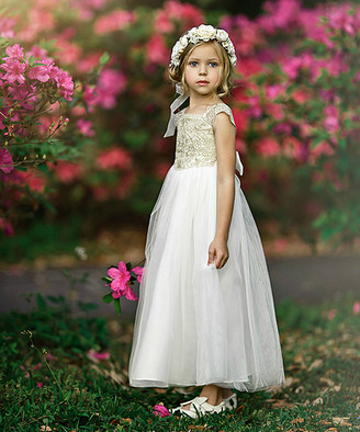 Off-White Think Pink Bows Girls' Special Occasion Dresses Off Georgia Belle Dress - Toddler & Girls