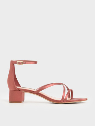 Charles & Keith Satin Strappy Heeled Sandals