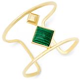 Diane von Furstenberg Malachite Stone Open Rail Cuff Bracelet