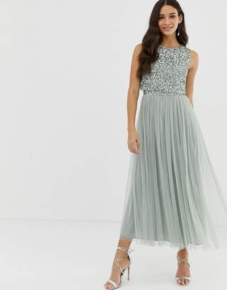 Maya Bridesmaid sleeveless midaxi tulle dress with tonal delicate sequin overlay in green lily