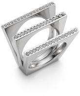 Vita Fede Geo Crystal Pav? Triple Bar Ring/Silvertone