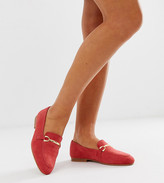 Asos Design DESIGN Wide Fit Moment leather loafers in coral