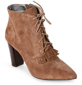 Tahari Cabin Taupe Augusta Fringed Lace-Up Booties