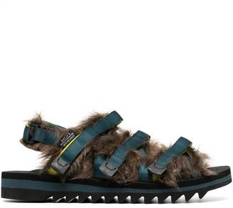 Suicoke ZIP-2 faux-fur embellished sandals