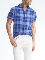 Camden-Fit Multi-Check Linen Short-Sleeve Shirt
