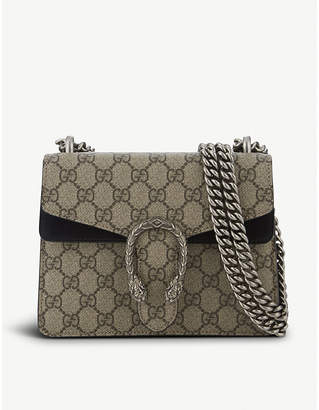 Gucci Women's Beige Black Dionysus Gg Supreme Leather Shoulder Bag