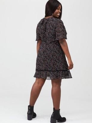 V By Very Curve Lace Trim Tea Dress - Multi