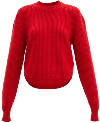 Isabel Marant Brent Puff-sleeve Cashmere And Wool-blend Sweater - Red