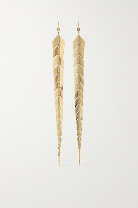 Jacquie Aiche Extra Large Fishtail 14-karat Gold Diamond Earrings - one size