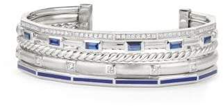 David Yurman Stax Color Cuff With Diamonds, Blue Sapphires And Blue