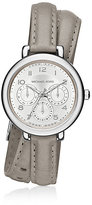 Michael Kors Kohen Silver-Tone And Leather Wrap Watch