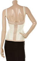 Herve Leger Faux leather and stretch-jersey top