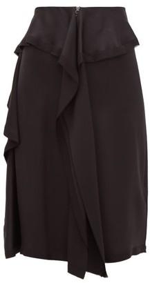 Burberry Raw-hem Ruffled Silk-satin Skirt - Black