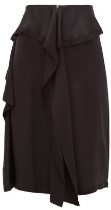Burberry Raw-hem Ruffled Silk-satin Skirt - Womens - Black