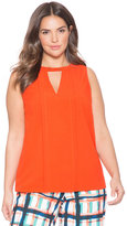 ELOQUII Plus Size Pleated V-Neck Cutout Shell