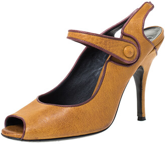 Dolce & Gabbana Tan Leather Mary Jane Peep Toe Pumps Size 39