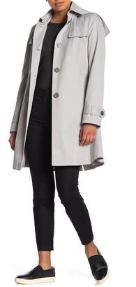 Via Spiga Shield Hooded Tie Waist Button Trench Coat