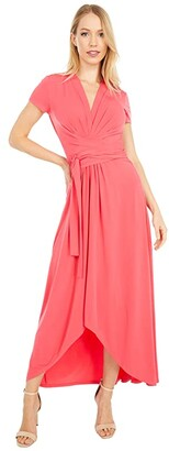 MICHAEL Michael Kors Cap Sleeve Maxi Wrap Dress (Dark Cyan) Women's Dress