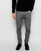 Asos Super Skinny Trousers In Herringbone - Grey