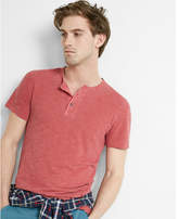 Express wide placket garment dyed short sleeve henley