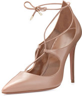 Aquazzura Christy Leather Lace-Up Pump, Biscotto