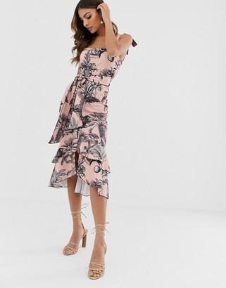 Asos Design DESIGN tie strap botanical floral pep hem midi dress-Pink