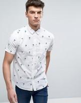 Brave Soul All Over Palm Tree Print Short Sleeve Shirt