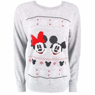 Disney Mickey & Minnie Mouse Christmas Womens Sweatshirt Official Movie XS Grey