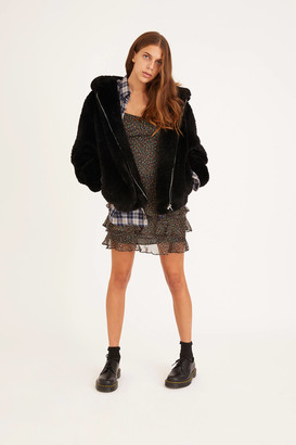Urban Outfitters Shaggy Hooded Teddy Jacket