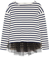 J.Crew Polka-dot Tulle-trimmed Striped Jersey Top - Cream